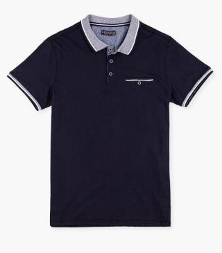 Knit polo shirt with a button.