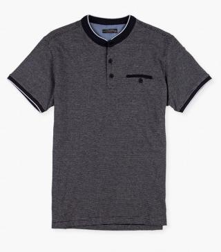 Mandarin collar polo with a pocket on the chest.