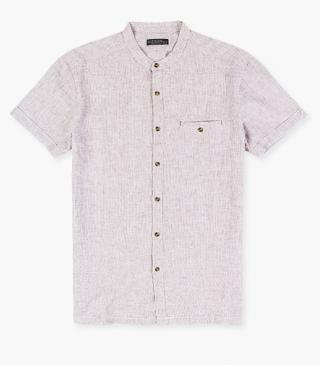 Mandarin collar shirt in linen.