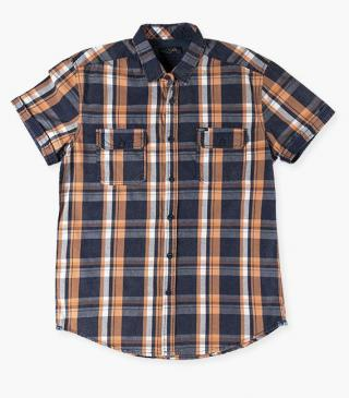 Short-sleeved check shirt.