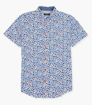 Flower and leaf motif shirt.