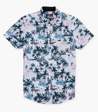 Tropical print shirt.