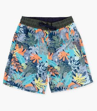 Jungle print microfiber swim trunks.