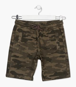 Green shorts with camo print.