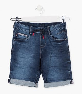Plush denim shorts.