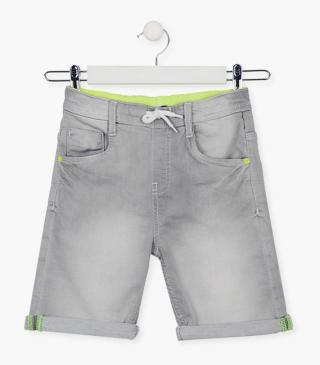 Grey plush denim shorts.