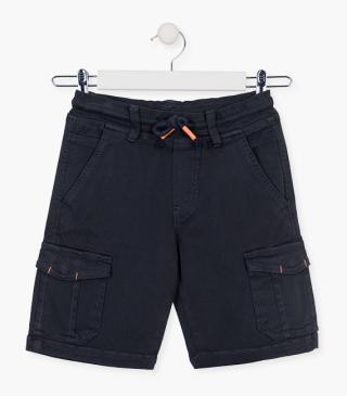Multi-pocket shorts in blue.