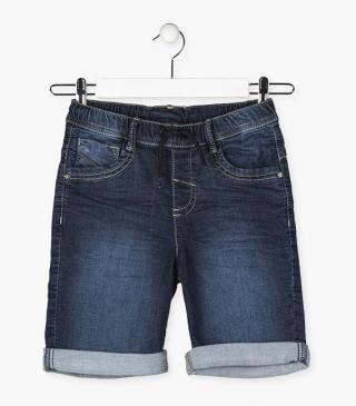 Denim shorts crafted from plush fabric.