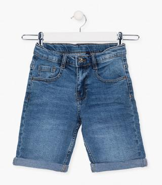 Shorts crafted from a denim fabric.