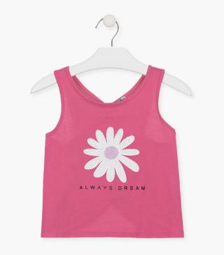 T-shirt with flower.