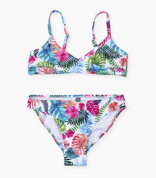 Flower and leaf print bikini set.