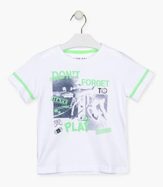 White t-shirt with graphic.
