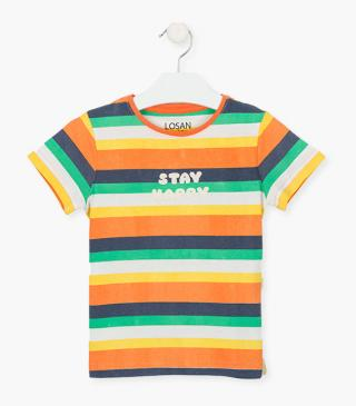 Rainbow stripe t-shirt.