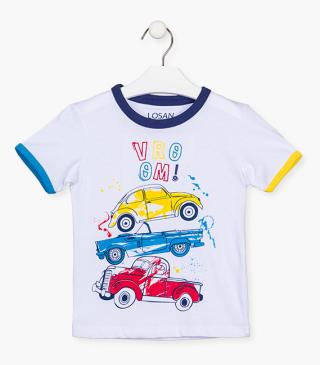White t-shirt with cars.