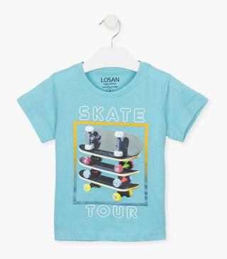 Top with a photographic skate print.