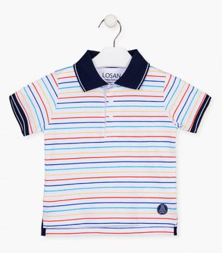 Cotton polo shirt with rainbow stripes.