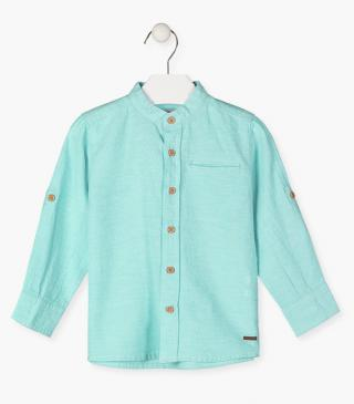 Linen blend shirt with long sleeves.