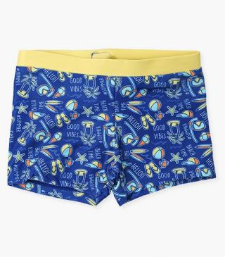 Summery print swim boxer trunks.