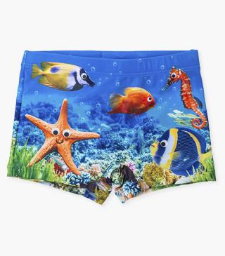 Seabed print swim boxer trunks.