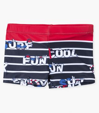 Graphic swim trunks with stripes.