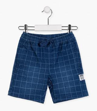 Checked denim plush shorts.