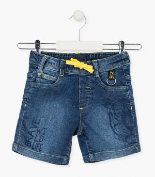 Denim plush shorts with tiger print.