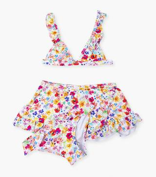 Floral motif bikini set with sarong.