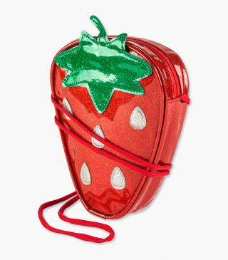 Strawberry-shaped handbag.