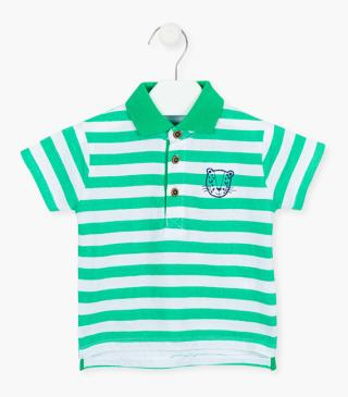 Striped cotton polo shirt.