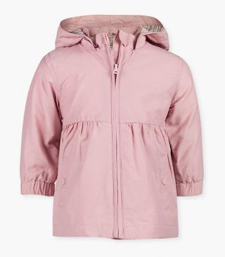 Pink jacket with a detachable hood.