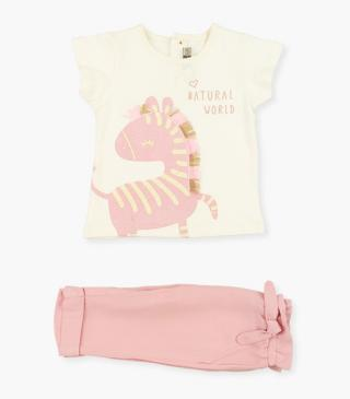 Short sleeve tee with zebra & trousers set.