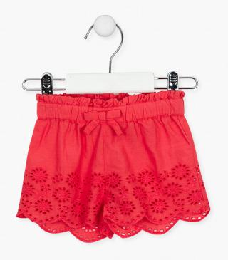 Floral embroidery shorts.