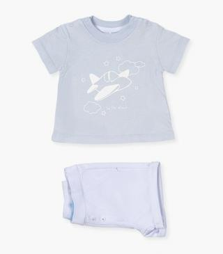 Knit shorts and tee set.
