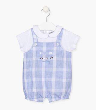Short baby grow with checks.