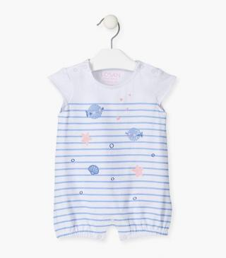Onesie with nautical prints.