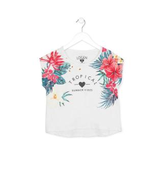 Camiseta de manguita corta con estampado tropical.