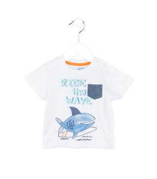 Camiseta de manga corta con estampado de animal surfero.