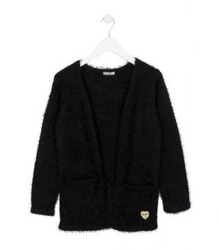 Longline fur cardigan in black knit.