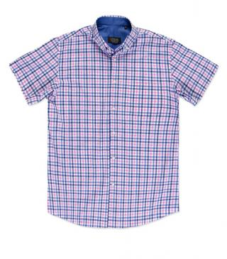 Classic pink and blue shirt with short sleeves.