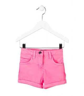 Short en sarga de color rosa con remaches joya.