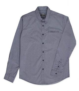 Blue pattern poplin shirt.