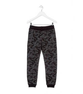 Camouflage print plush trousers