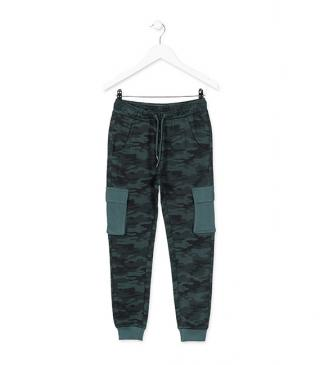 Camouflage print multi-pocket trousers.