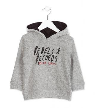 Hooded t-shirt with flannel on the outside.