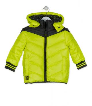 Yellow jacket with a hood.
