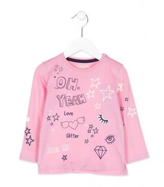 Camiseta de manga larga de color rosa con estrellas.