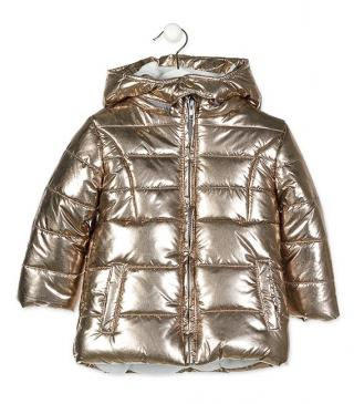 Golden quilted jacket.