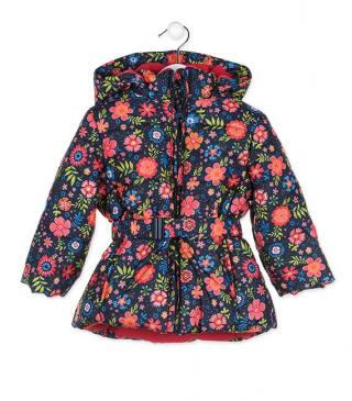 Floral print jacket with detachable hood.