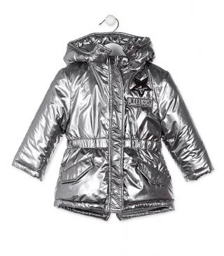 Silver jacket with detachable hood.