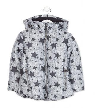 Grey jacket with printed stars.